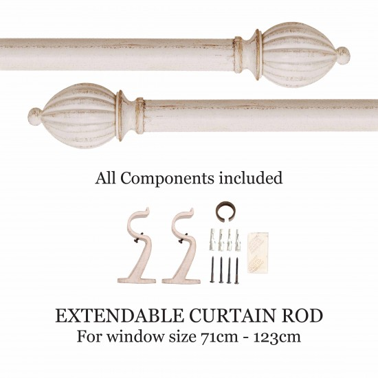 "Kamrakh 32mm Curtain Rod 28"" - 48"" Ivory Gold Brush"