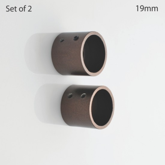 Wall Bracket Iron 19 mm Ø Curtain Rod Brown Oil Rubbed