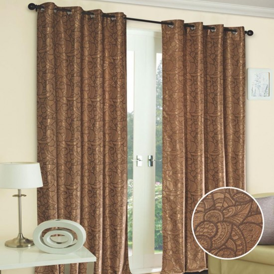 """Curtain (Set of 2) Chocolate Shell 52"""" x 60"""" Chocolate/Gold"""