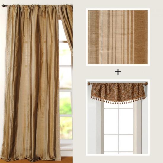 "Combo of Ascot Shikara Earthtone Valance & Curtain Riya 96"" Beige"