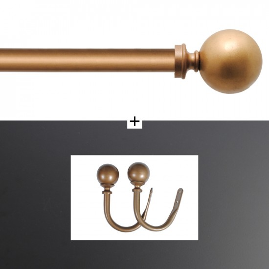 """Combo of Curtain Rod Ball 32mm 44"""" - 108"""" With Holdback Round Gold Matt Brown Wash"""