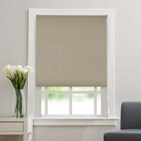 "Polyester Blend Blackout Roller Blinds for Windows (48"" Wide X 84"" Long, Fossil)"