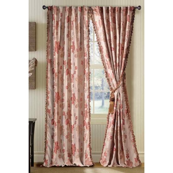 "Curtain Jaquard Flower Beige Terracotta Mix 108"""