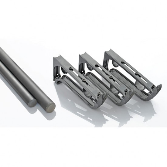 Classical Double Rod Bracket Kit 52-144 Charcoal
