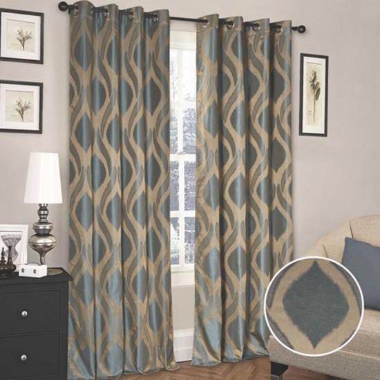 Blackout Curtain Sound Wave (Set of 2) Grey Blue