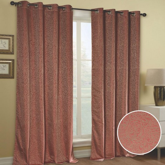 "Blackout Curtain (Set of 2) Spiral Bouquet 52"" x 108"" Orange"