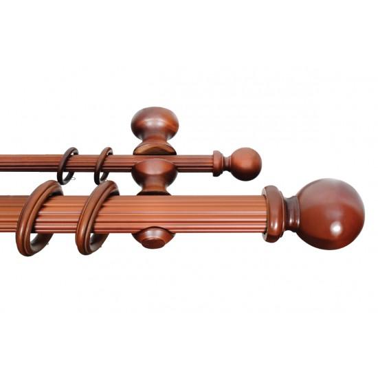 Wooden Double Rod 50mm Ball Teak