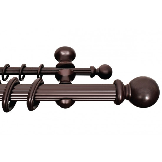 Wooden Double Rod 50mm Ball Walnut
