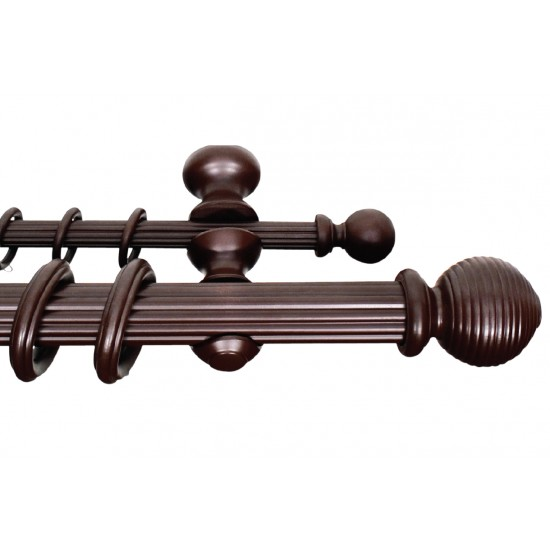 Wooden Double Rod 50mm Ribbed Ball Walnut