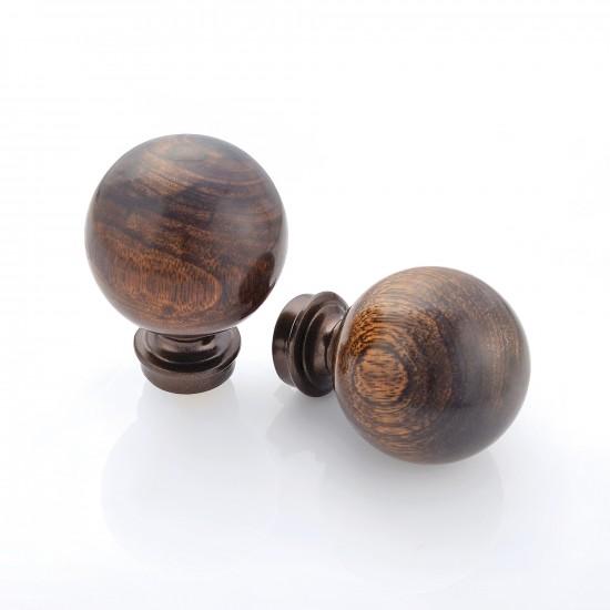 Wood Ball Finial Set of 2