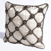 "Deco Home Cushion Cover Rosette 16"" X 16 "" Champagne"