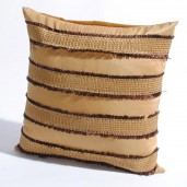 "Deco Home Cushion Cover Frayed with gimp 16"" X 16 "" Gold"