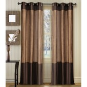 "Strip Band Curtain Chocolate 84"" (Set of 2)"
