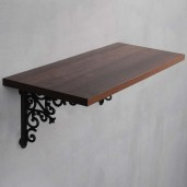 Mahogany Shiny Wall Shelf with Opera Bracket Set
