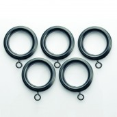 Curtain Rings 32mm with Hook for Rod 19mm or 25mm (Set of 14) Black Matt