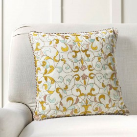 """Cushion Cover Bel Embroidery 16""""X16"""" Lime Green"""