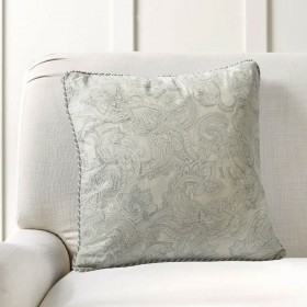 """Cushion Cover Paisley Uni Embroidery 16""""X16"""" Grey Morn"""
