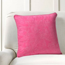 "Cushion Cover Paisley Uni Embroidery 16""X16"" Pink Yerrow"