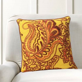 """Cushion Cover Floral Embroidery 16""""X16"""" Mimosa"""
