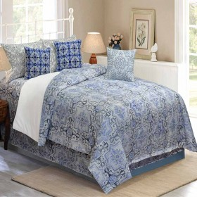 Bedding King Size 7 pc Set Modern Arabesque French Blue
