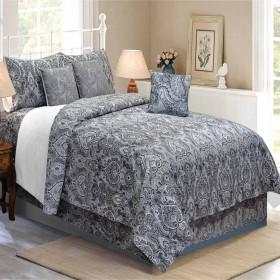 Bedding King Size 7 pc Set Czar Paisley Dim Grey