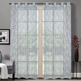 """Sheer Curtain Floral Lace Champagne 52""""x90"""""""