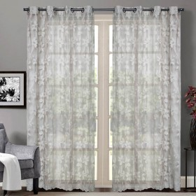 """Sheer Curtain Floral Lace Champagne 52""""x90 lifestyle"""