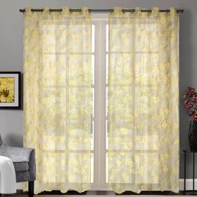 """Sheer Curtain Floral Rose Mineral Yellow 52""""x90' lifestyle"""