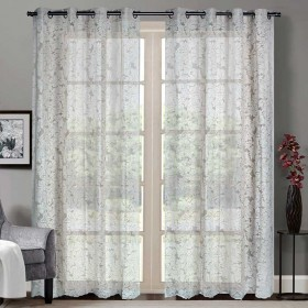 """Sheer Curtain Floral Paisley Fossil 52""""x90' lifestyle"""