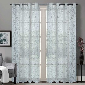 """Sheer Curtain Floral Paisley Champagne 52""""x90 lifestyle"""