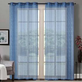 "Sheer Curtain Brick Lace Placid Blue 52""x90' lifestyle"