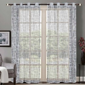"""Sheer Curtain Square Lace Metallic Grey 52""""x90' lifestyle"""