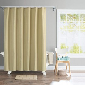 """Shower Curtain Solid Wave 72X84"""" Lt Gold"""