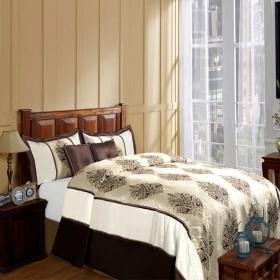 Timber Wood Bedding Ivory/Chocolate 94''x 102''