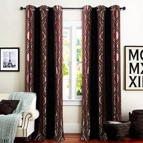 "Curtain Jacquard Eye leaf 90"" -Burgundy"