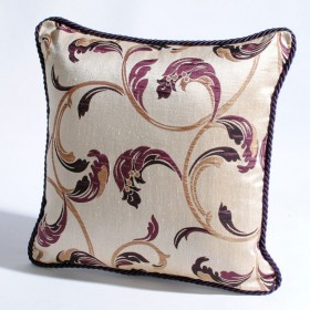"Deco Home Cushion Cover Jasmine 16"" X 16"" Chocolate/Light Amethyst/Gold"