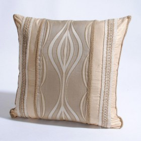 """Cushion Cover Wave with Trim 16"""" X 16"""" Beige"""