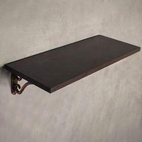 Brown Wood Wenge Wall Shelf with Romantic Bracket Set