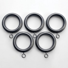 Curtain Rings 32mm with Hook for Rod 19mm or 25mm (Set of 14) Charcoal