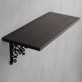 Dark Brown Wood Shelf with Opera Bracket Set