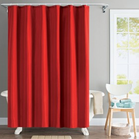 "Shower Curtain 72""x 84"" Solid Wave Red"