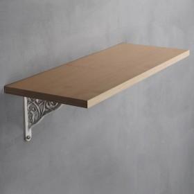 Teak Natural Shelf with Baroque White Bracket Set