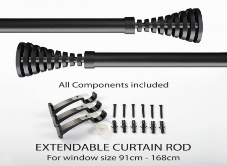 "36""-66"" Groved Tapper Iron 25mm Extendable Curtain Rod Black Matt"