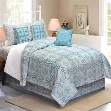 Bedding King Size 7 pc Set Modern Arabesque Turquoise