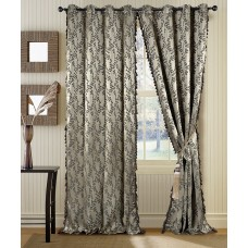 Curtain Jaquard Leaf Dark Beige/Black Mix 90""