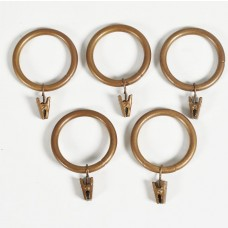 Curtain Rings with Clip for Rod 32mm (Set of 14) Gold Matt Brown Wash