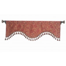 Valance Scalloped Indian Shawl Burgundy