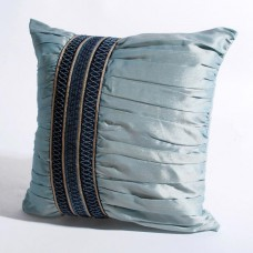 "Deco Home Cushion Cover Broad Trim Ruffle 16"" X 16 "" Light Blue"