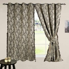 "Curtain 60"" Jacquard Leaf Dark Beige/Black Mix"