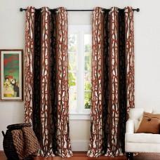 Single 7.5 ft Curtain Jacquard Dark Terracota Flow